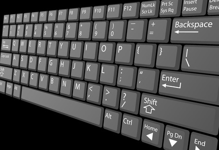 computer key: A closeup view of a laptop computer keyboard with white key labels, isolated on black.