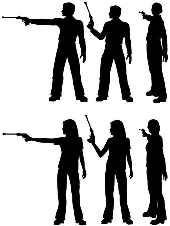 sparare: Una sagoma uomo e la donna sparare una pistola di destinazione in tre posizioni. Vettoriali
