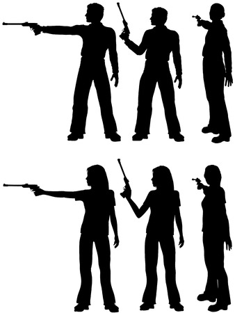 A silhouette man and woman shoot a target pistol in three stances. Illustration