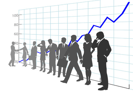 corporations: A team of Business People in front of  Growth Chart Illustration