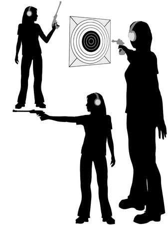 A silhouette woman shoots a target pistol in three poses.