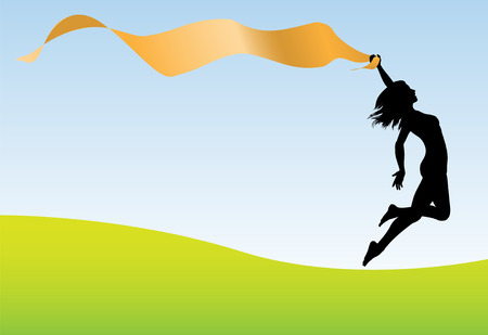 thin woman: A fit healthy woman holding a ribbon banner runs and leaps for joy and celebration.