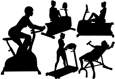 Fitness silhouette women in exercise gym work out on treadmill, bike, and barbells.