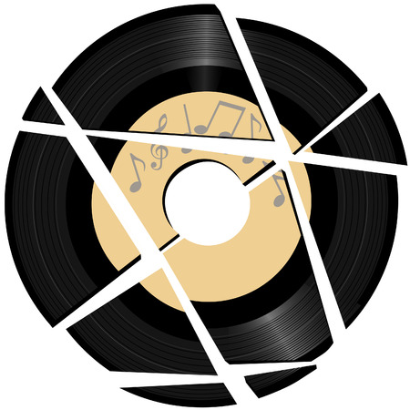 damaged: A vinyl record with a music notes record label broken to pieces.