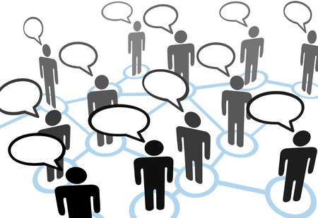 communication: Everybodys talking at everybody in speech bubble communication social network.
