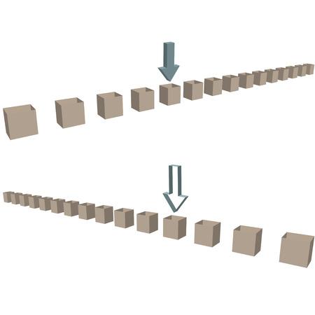 빈 3D 배송 상자 및 테두리로 가리키는 화살표의 두 행.