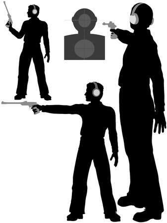 shots: A silhouette man shoots a target pistol in three poses.