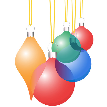 A set of translucent Christmas Decoration Ornaments in red, green, blue, and yellow.