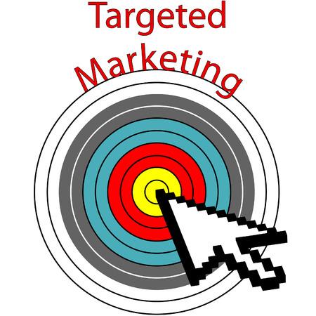 A pixel computer cursor icon clicks on targeted marketing bulls eye target.