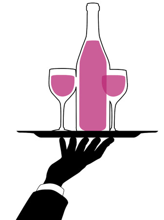 Waiter silhouette arm and hand hold a serving tray and red wine bottle and glasses.