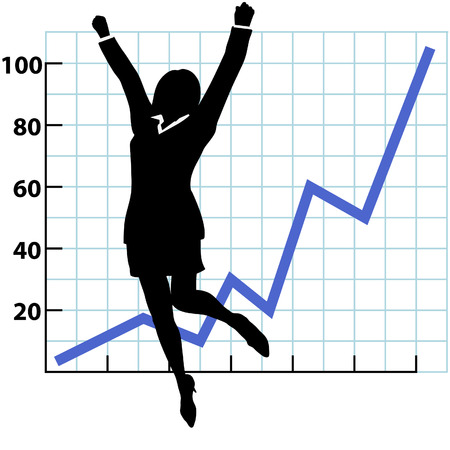 A business woman silhouette jumps and raises her fists in celebration of success on a chart of growth or profit. Ilustração