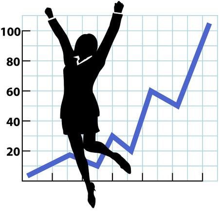 Una silueta de mujer de negocios Salta y plantea sus puños en la celebración del éxito en un gráfico de crecimiento o beneficio. Ilustración de vector