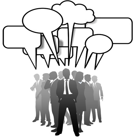A networked team of business people silhouettes talk in communication speech bubbles.