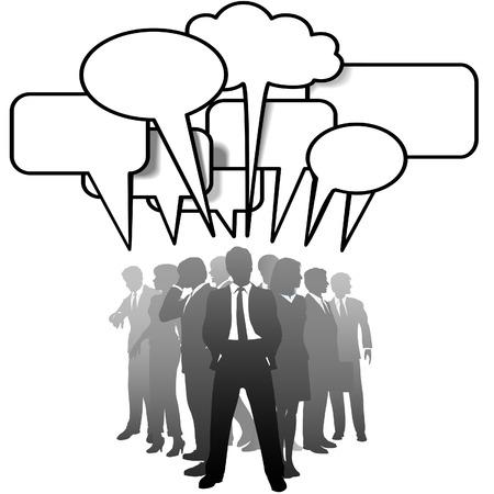 Een net werk team van business mensen silhouetten praten in communicatie tekst ballonnen. Stock Illustratie