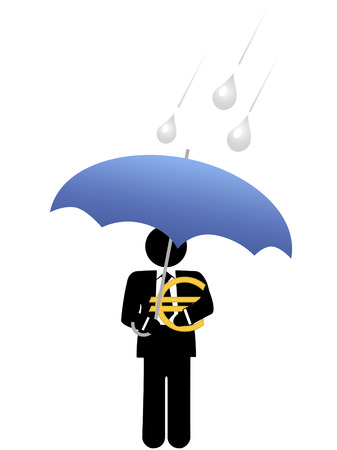 An investor or business man keeps his euro investment safe from risk under an umbrella. Ilustracja