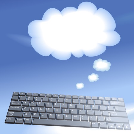 Cloud computing speech bubble clouds rise into a blue sky from a laptop computer keyboard.