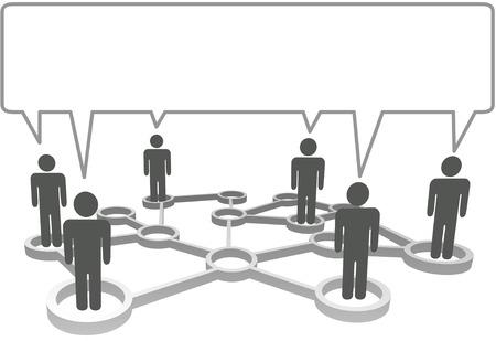 Aangesloten symbool personen in net werk knoop punten in een tekst ballon communiceren.