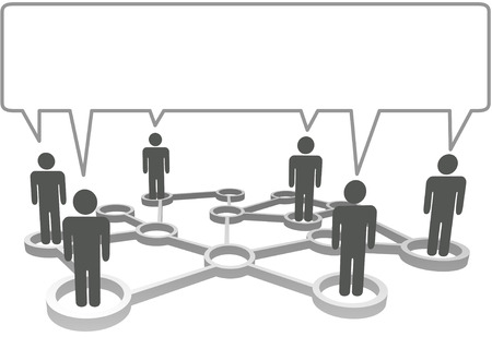 connection: Connected symbol people in network nodes communicate in a speech bubble.