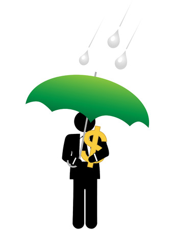 An investor or business man keeps his dollar investment safe from risk under an umbrella. Stock Vector - 6218397