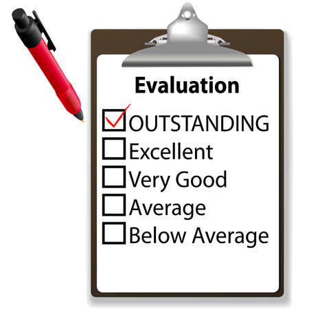 evaluate: An evaluation for job performance red check mark in the OUTSTANDING box with clipboard and ink pen.
