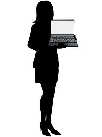 laptop screen: A Business woman holds laptop computer to display the copy space in the blank white screen background. Illustration