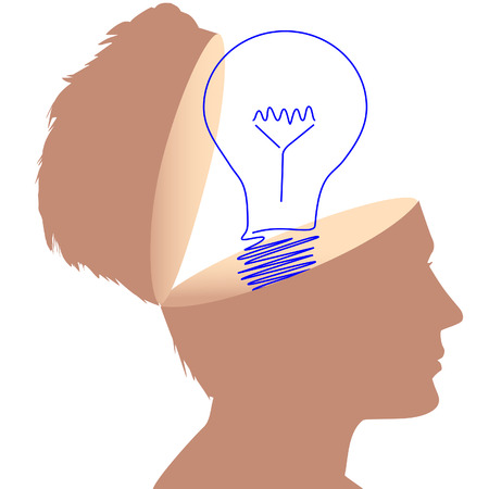 A drawing or of a light bulb as a symbol of a plan in the open head of a man. Stock Vector - 6218400