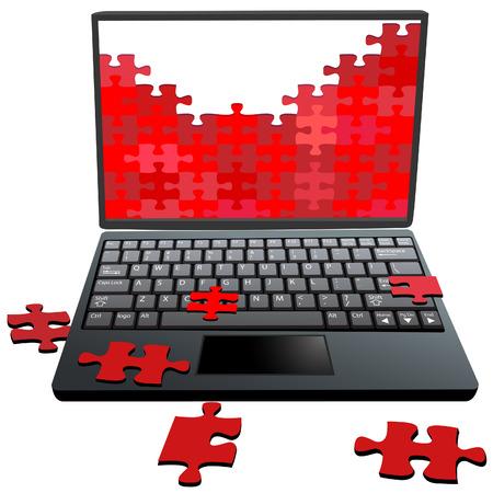 laptop repair: Jigsaw Puzzle piezas en el monitor de un equipo port�til como un s�mbolo de los problemas de seguridad reparaci�n etc..