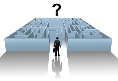 enters: A business person enters an Internet Maze in search of an answer or solution to a question. Illustration