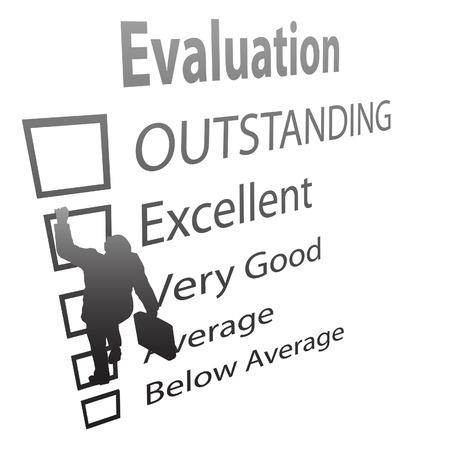 evaluating: Un empleado de negocio sube los cuadros de un formulario de mejora de la evaluaci�n como una escalera.