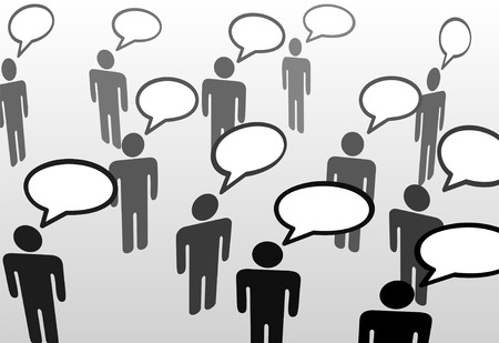 Everybodys talking at everybody in speech bubble communication social network. Vector