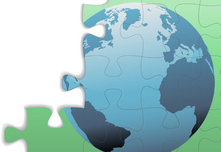 The Eastern Hemisphere of a globe of Earth on a jigsaw puzzle with copy space and drop shadow. Banco de Imagens - 6218420