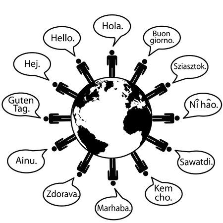 Global dicen hola como símbolos de traducción de idiomas.
