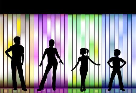 Mensen in een reeks kleding Fashion tonen op een kleurrijke achtergrond Stock Illustratie