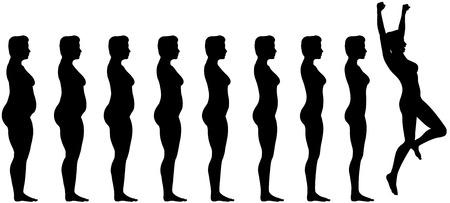 skinny: Siluetas de la mujer son s�mbolo de grasa para el logro de p�rdida de peso de dieta apropiado. Vectores