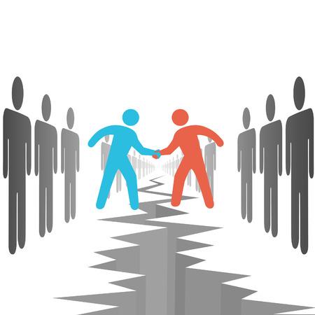 compromise: Personas de dos lados de la oposici�n hacen un trato de las diferencias de liquidaci�n de acuerdo sobre una grieta de abismo. Vectores