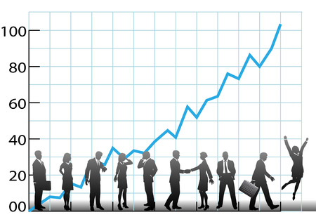 company growth: The team at a business chart the company growth in a graph to success.