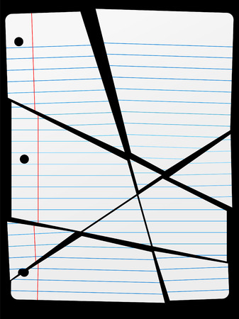 Pieces of a Cut or Torn Up piece of wide ruled Notebook Paper as a background.