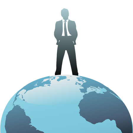 A successful global business man stands on top of the world.