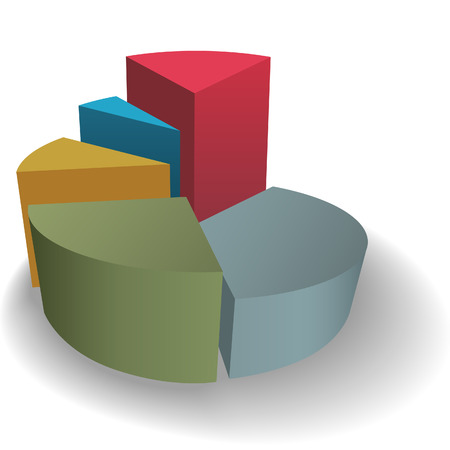 A 3D pie chart as a symbol of success on a shadow. Ilustracja