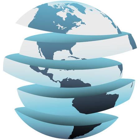 hemisphere: An earth globe with the Western Hemisphere cut up into section slices. Illustration