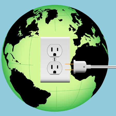 outlet: ENERGIZE EARTH with an electric plug in an outlet in an Energy Globe.