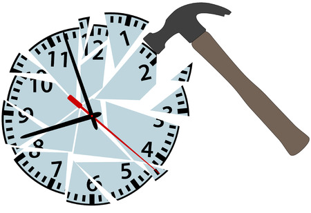 A hammer strikes an alarm clock to smash time to pieces.