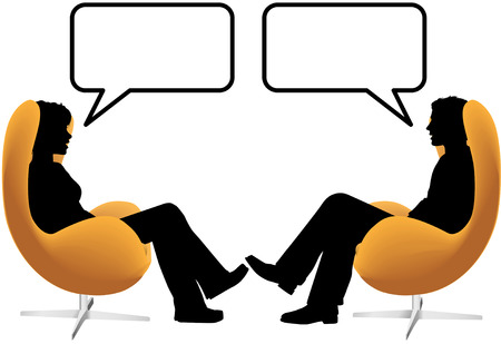 communication: A man woman couple sit in egg chairs facing each other and talk