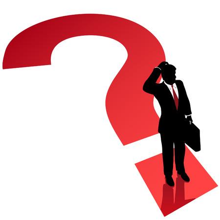 indeciso: Un hombre de negocios rasca la cabeza en la indecisi�n en un signo de interrogaci�n.