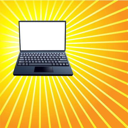 빛나는 노란색 광선 배경에 노트북의 밝은 흰색 표시 복사본 공간에 copyspace