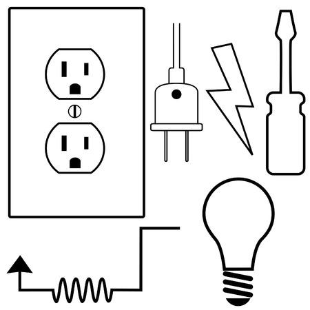 Eléctrica reparación e instalación conjunto de iconos de símbolo para contratista eléctrico o electricista.
