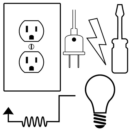 Electric Repair and installation Symbol Icons Set for Electrical Contractor or Electrician. Vector