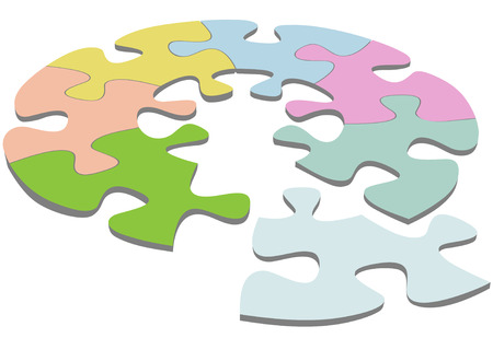 A round jigsaw puzzle with pieces as a symbol of your unique circular solutions. 일러스트