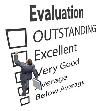 evaluating: Un empleado de negocio sube las casillas de un formulario de mejora de evaluaci�n como una escalera en una ilustraci�n en 3D. Foto de archivo