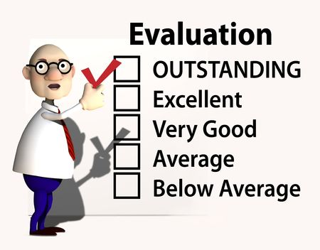 evaluate: A cartoon boss or teacher puts a red check mark on a report card or evaluation for job performance.